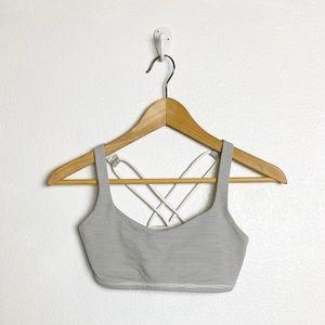 Lululemon gray and white striped sports bra